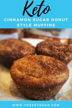 These Keto Cinnamon Sugar Donut Style Muffins are super fluffy and taste delicious. The cinnamon sugar gives them a amazing taste that you will enjoy any time of the day. These are the perfect keto breakfast muffins. Keto Foods, Keto Snacks, Best Keto Breakfast, Keto Breakfast Muffins, Breakfast Recipes, Mini Muffins, Low Carb Desserts, Low Carb Recipes, Dessert Recipes