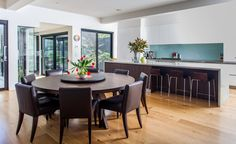 round table with lazy in Dining Room Contemporary with large kitchen island dining table