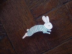 P.J Bunny Shrink Plastic Pin Brooch by whitelightchase on Etsy, $5.00