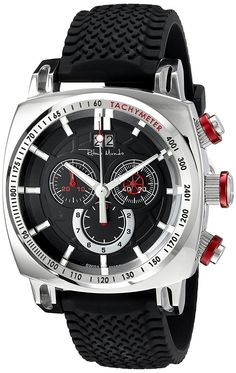 Ritmo Mundo Men's 2221/3 SS Red Racer Analog Display Swiss Quartz Black Watch *** Want to know more, click on the image.