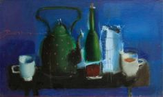 Breakfast - oil still life in blue tones by  Hyzhy. www.les-art.com