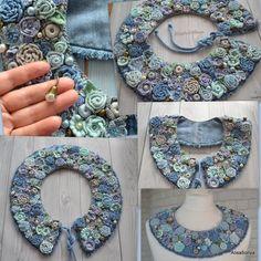Handmade Jewelry DIY Boho Crochet Clothing by AlisaSonya on Etsy Boho Crochet, Crochet Gifts, Irish Crochet, Crochet Flowers, Fabric Flowers, Crochet Fashion, Denim Flowers, Textile Jewelry, Fabric Jewelry