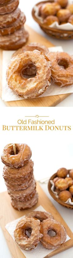 Old Fashioned Buttermilk Donuts are plain cake donuts with a simple glaze, but they're scored so that when they're fried they get extra crispy and delicious.