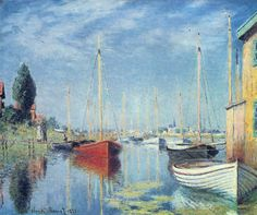 Pleasure Boats at Argenteuil by Claude Monet in oil on canvas, done in Now in a private collection. Find a fine art print of this Claude Monet painting. Claude Monet, Monet Paintings, Impressionist Paintings, Pierre Auguste Renoir, Canvas Art, Canvas Prints, Art Prints, Art Blanc, Edgar Degas