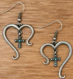 Montana Silversmiths Antiqued Silver Open Heart with Cross and Turquoise Earrings