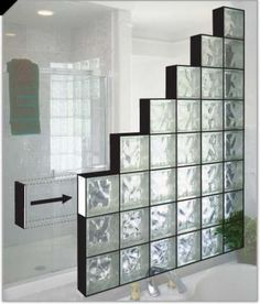 Bathroom Glass Block Divider