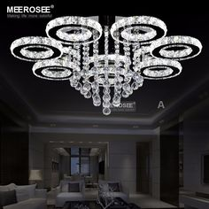 Modern Iron K9 Lustre Crystal Chandeliers Ceiling Pendant Lamp ...