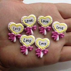 10pcs Love lollipop Painting Resin Flatback Cabochon ScrapbookIng phone/craft