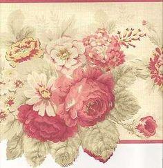 Pink Flower Border   Floral Wallpaper Border / Roses Red Wall Border / Red Pink Trim
