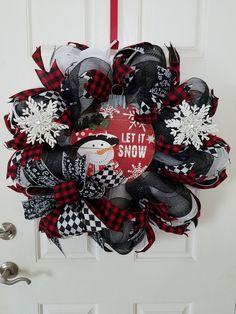 Let it Snow Wreath Snowman Wreath Deco Mesh Wreath Christmas Wreath Home Decor Holiday Decorations Front Door Wreath Christmas Mesh Wreaths, Christmas Door, Deco Mesh Wreaths, Christmas Snowman, Christmas Crafts, Christmas Ornaments, Winter Wreaths, Door Wreaths, Ribbon Wreaths