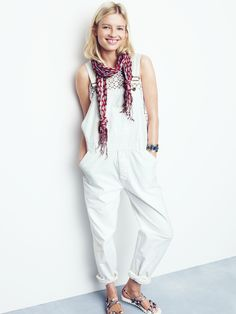 Chimala® overalls worn with starstich shell + paisley stem scarf at Madewell.