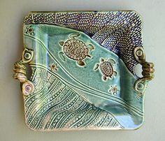 Handbuilt Stoneware Turtle Platter by PotterybyHelene on Etsy, $59.00