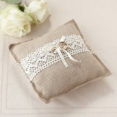 Hessian Lace Wedding Day Ring Cushion