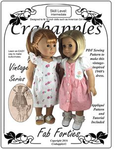 "Fab Forties PDF Pattern to fit 18"" dolls"