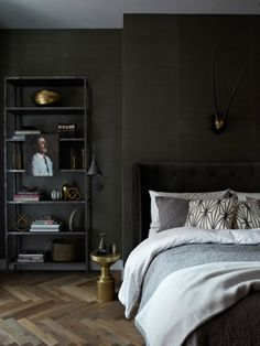 Dark Bedroom At Night love the dark green wall and gray combo | inspirado. | pinterest