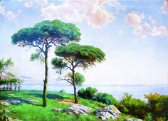 Pistachio Trees by Hoca Ali Riza. Hoca Ali Rıza was a Turkish painter. Nature Paintings, Watercolor Paintings, Painting Art, Landscape Art, Landscape Paintings, Pistachio Tree, Art Database, Impressionism, All Art