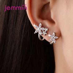Para mujer Sweet Elegante Plata Esterlina 925 Zircon Mariposa Flor Aretes