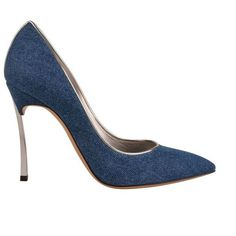 Casadei Denim Pointed Court Shoes ($290) ❤ liked on Polyvore featuring shoes, pumps, denim, pointed-toe pumps, blue pumps, high heel shoes, pointed high heel pumps and metallic shoes