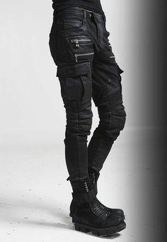 Nyfashioncity Cargo Pants Trendy Black Wax Pants for Men Mode Cyberpunk, Cyberpunk Fashion, Cyberpunk Tattoo, Cyberpunk Girl, Cyberpunk 2077, Cyberpunk Clothes, Dystopian Fashion, Fashion Pants, Mens Fashion