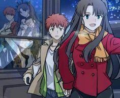 Shirou Emiya Rin Toshaka and their spirit forms