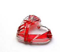 Red heart pendant, stained glass inspired jewelry, wire wrapped pendant, resin pendant teamt. $25.00, via Etsy.