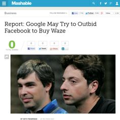 http://mashable.com/2013/05/24/google-waze-acquisition/ Report: Google May Try to Outbid Facebook to Buy Waze | #Indiegogo #fundraising http://igg.me/at/tn5/