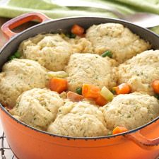 A good one for game day. Gluten-Free Chicken & Dumplings made with baking mix: King Arthur Flour. Also GO BRONCOS!