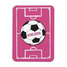 Personalized Soccer Ball and Field Pink Magnet