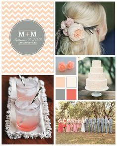 Coral and Grey Wedding by