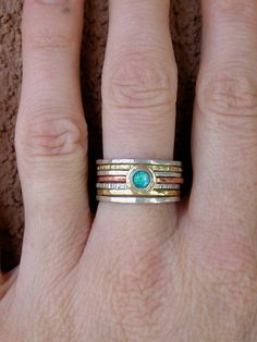 Hammered Stack Rings With Opal.