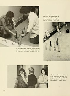 "Athena Yearbook, 1961. ""At the bowling alley they only needed one pin setter, or was it automatic? Maybe girls need a little extra advantage to handle this job!"" :: Ohio University Archives"