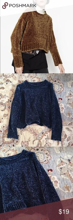 Zara // Chenille Sweater First photo is for fit reference. This gorgeous inky blue sweater is so wonderfully soft and cozy. Scalloped details on the hem. I removed the brand label but this is from Zara and a size Medium. Slightly oversized fit. Zara Sweaters Crew & Scoop Necks