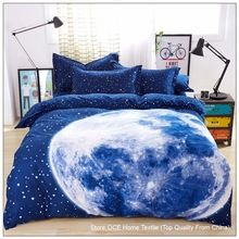 Thick 3D bedding set King size,bed set,duvet cover set with bed sheet ,bedclothes Moon Star Galaxy space nasa