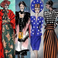 #inspirational #fashionweeks #gucci #rodarte #garethpugh #victoriabeckham #MFW #LFW  #readytowear #atumnwinter collections #womenswear #womansfashion #runway #models #fashiondesigners #instafashion #instagood inpression sketches by #lindazoon @illustrationltd