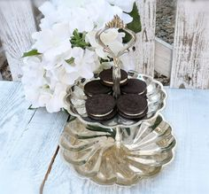 Vintage Silver Plated 2 Tier Serving Tray by HuckleberryVntg, $28.00