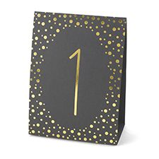 Polka Dot - Table Number Tents (1-40) - Gold