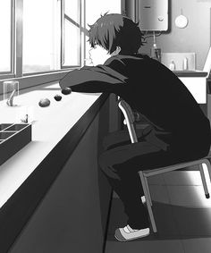 gambar anime, hyouka, and black and white Anime W, Sad Anime, Cute Anime Boy, Kawaii Anime, Anime Demon, Anime Boys, Danshi Koukousei No Nichijou, Fanart Manga, Kyoto Animation
