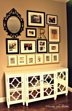 Picture Gallery Wall -- I like the shelf at the bottom anchoring the rest of the collage