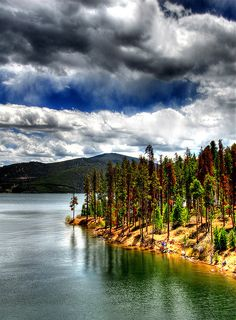 Dillon Lake, Colorado, USA - by Used to canoe here. (color too intense) - in Summit County. Living In Colorado, Colorado Homes, Colorado Usa, Frisco Colorado, Colorado Trip, Colorado Rockies, Places Around The World, Oh The Places You'll Go, Places To Visit