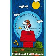 Snoopy Flying Ace Fabric Panel to Sew
