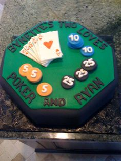 Poker Cake with Poker Chips and Cards