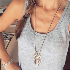 "Stella & Dot Chiara Pendant Necklace The perfect statement! Like new, perfect condition - Leather backed pendant with embroidered sparkle detail, vintage silver accents and soft fringe. 30"" with 2"" extender. Comes with box.  Currently selling on their site for $79. Stella & Dot Jewelry Necklaces"
