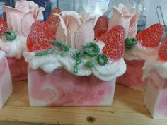 """""""Amore"""" Strawberry Champagne soap by My Little Lyza Soap Company Strawberry Champagne, Bubble Baths, Candle Craft, Homemade Soaps, Soap Company, Soap Making, Scrubs, Create Your Own, Projects To Try"""