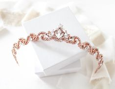 Rose gold tiara Simple Swarovski crystal Bridal tiara Rose gold Wedding crown Bridal hair piece Wedding headpiece Swarovski headband by on Etsy Bridal Hair Accessories, Bridal Jewelry, Gold Wedding Crowns, 20s Wedding, Gold Weddings, Hair Wedding, Adelaine Kane, Gold Tiara, Simple Rose