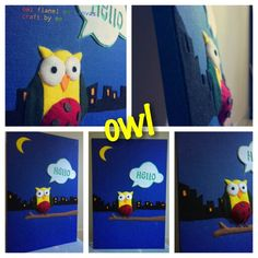 Owl flanel on paper