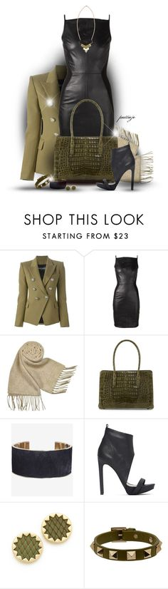 """""""That Leather Lady"""" by rockreborn ❤ liked on Polyvore featuring Balmain, Gareth Pugh, Gucci, Nancy Gonzalez, Hive & Honey, Express, Jeffrey Campbell, House of Harlow 1960 and Valentino"""