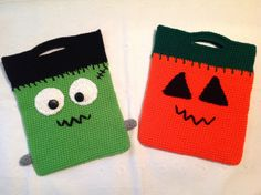 Crochet Trick or Treat Halloween candy bags by ComfyNCozyBoutique on Etsy