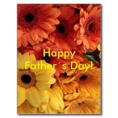 Happy Father´s Day! Bright Orange Gerbera Flowers Postcard
