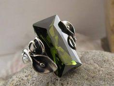 Sterling Silver Ring.Handmade Silver Ring.Peridot ring.Peridot