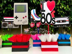 I love the 80s birthday bash party centerpieces 80s party decoration 80s birthday I love the 80s centerpiece party favors PRICE PER PIECE #affiliate